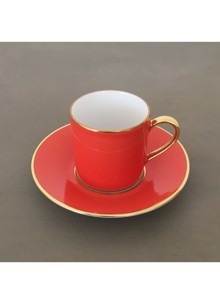 Empire coffee cup & saucer - Sous le Soleil, Coral & Gold