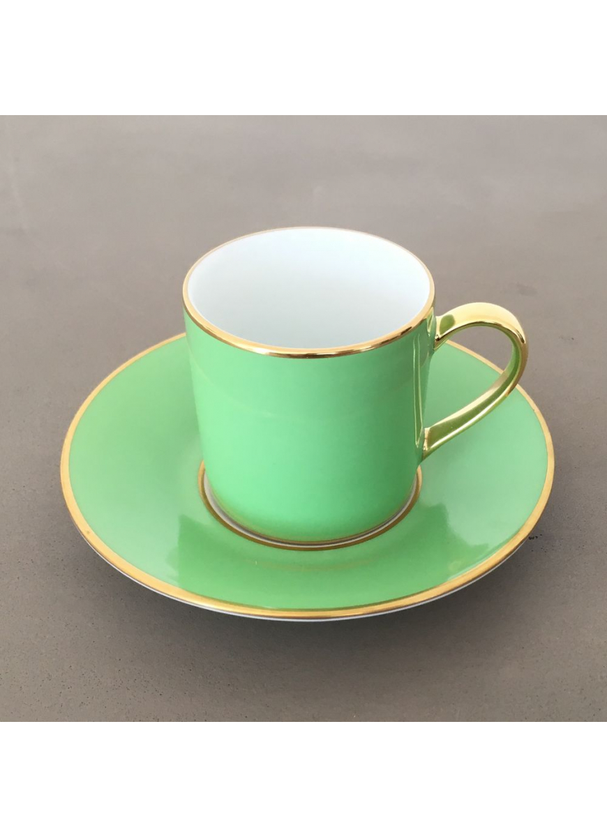 Empire coffee cup & saucer - Sous le Soleil, Lime & Gold