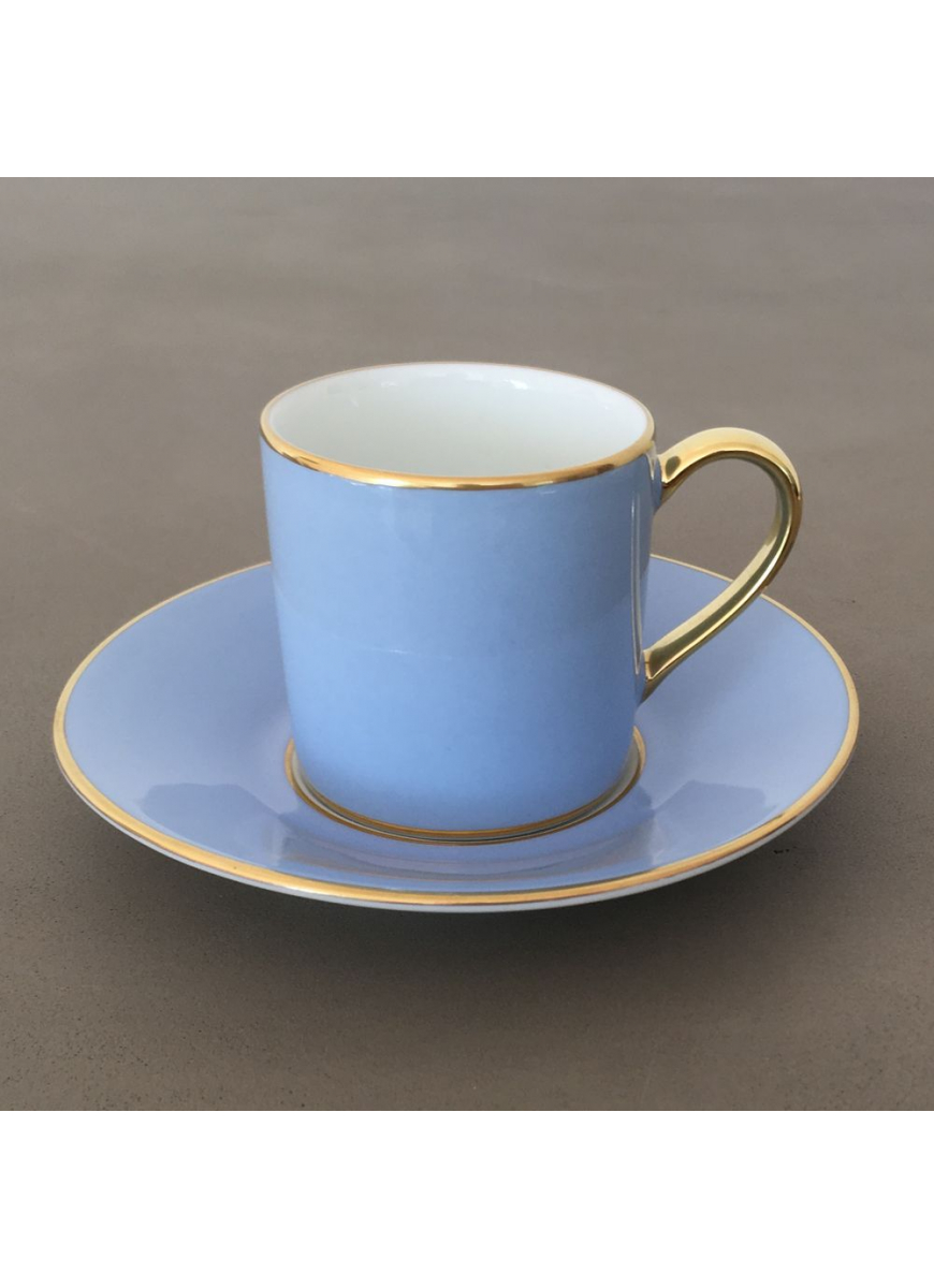 Empire coffee cup & saucer - Sous le Soleil, Ice Blue & Gold